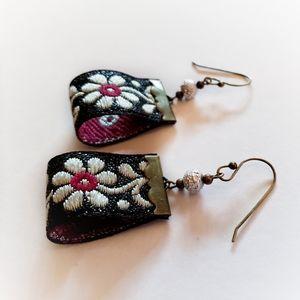 handmade floral brocade ribbon earrings